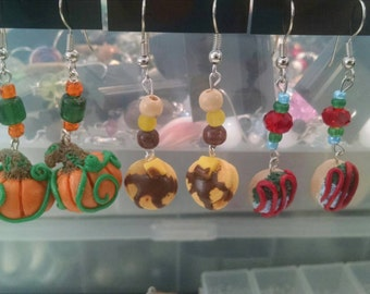 BIG SALE DISCOUNT Pumpkin earings, doughnut earings, pancake earings