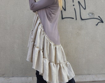 New Asymmetrical Cotton Linen Dress, Extravagant Oversize Party Dress, Loose Casual Dress by SSDfashion