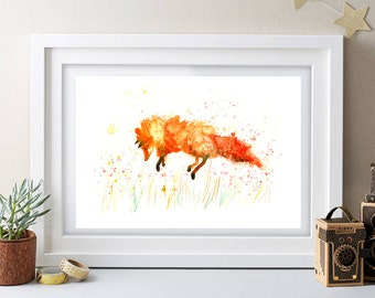 Fox Contemporary Watercolour ART PRINT Original LIMITED Edition Signed Watercolour Thick 300 gsm Paper Free Shipping To United Kingdom