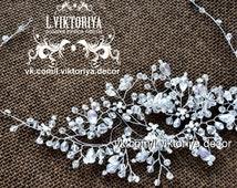 hair accessories, beads crown, wedding headband, bridal tiara, pearl tiara, crystals