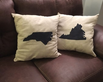 "Virginia, North Carolina, ANY STATE custom hand painted linen pillow cover 18""x18"""
