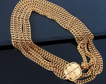 Chanel necklace,  gold Vintage Chanel necklace,  CC chunky necklace, Authentic Chanel statement necklace, Chanel choker necklace