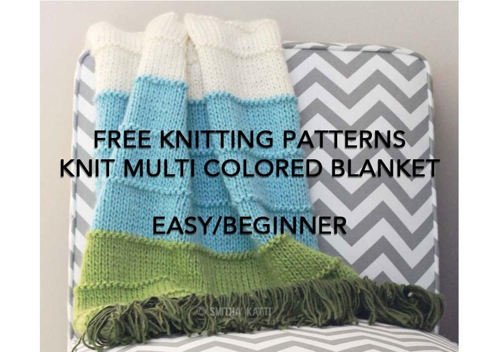 Easy Blanket Knitting Pattern For Beginners Free : FREE Knitting Patterns DIY KNITTING Easy/ Beginner Blanket