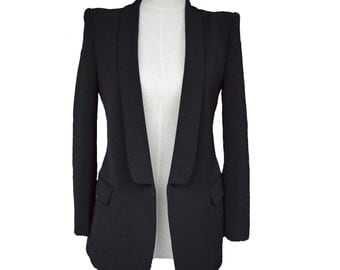 Womens Custom Black Blazer, women slim fit blazer, white jacket, long sleeve jacket, womens blazer