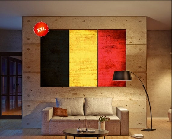 Belgium flag canvas wall art art print large  canvas wall art print Belgium country flag Wall Home office decor interior Office Decor