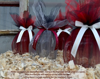 """25 Personalized 5/8"""" Satin Ribbons for Wedding Favors, Birthday Favors or Baby Shower Favors."""