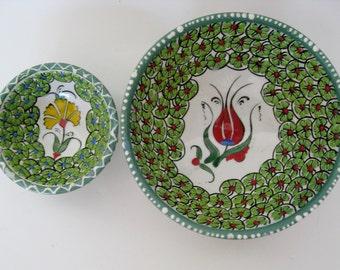 Embossed Floral Trinket Bowls, Pair
