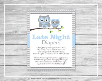 Owl Baby Shower Late Night Diapers Sign - Printable Baby Shower Late Night Diapers - Blue Owl Baby Shower - Late Night Diapers Sign - SP135