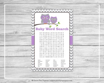 Owl Baby Shower Baby Word Search Game - Printable Baby Shower Word Search Game - Purple Owl Baby Shower - Owl Shower - Word Search - SP136