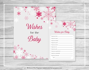 Winter Wonderland Baby Shower Wishes for Baby Cards - Printable Baby Shower Wishes for Baby Cards - Winter Wonderland Baby Shower - SP115