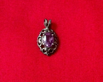 Amethyst and Sterling Silver Filligree Pendant