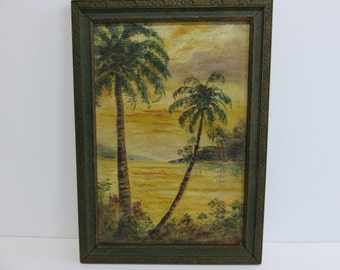 Signed Mid-Century Modern Impressionist Painting Of The Bahama Islands 1930's.