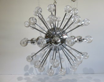 Chrome And Lucite Mid-Century Modern Sputnik Chandelier, In The Manner Of Lightolier.