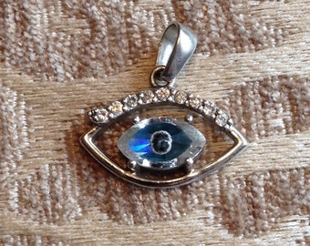 Sterling Silver and Cubic Zirconia Evil Eye Pendant