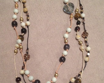 Cord and Bead Necklace in Blue and Earthy colours