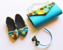 Girls ankara bag and shoe set, Little girls shoes and bag matching, Gift for little girls, african print kids shoe set, girls birthday gift