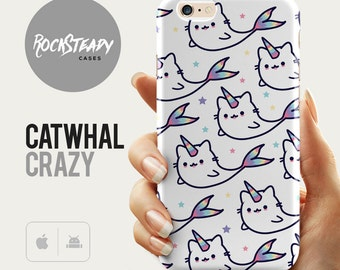 Cat unicorn Whale iPhone 6s case, catwhal narwhal phone case, 6 Plus, SE, 5C, 5s cover, cute kawaii Samsung Galaxy S7, S6, S5 case,