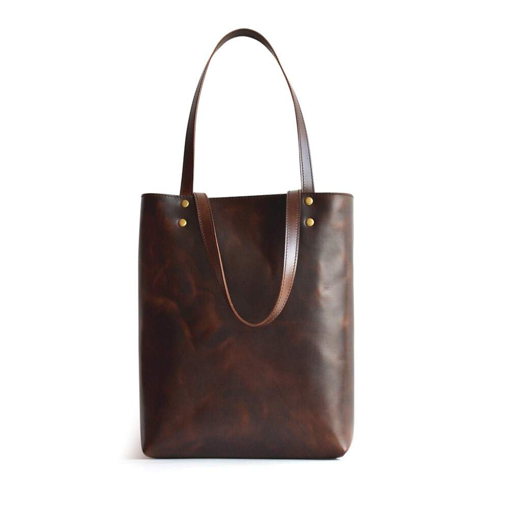 Handmade Leather Tote Bag Brown Simple Leather Tote Handbag
