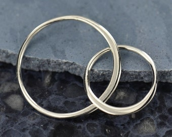 Large Two Circle Link Connectors Sterling Silver, Double Eternity Rings, 27x14mm