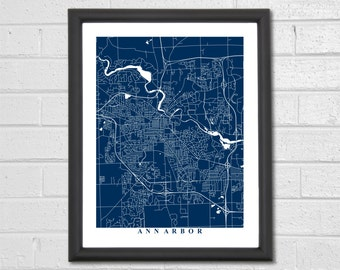 Ann Arbor Map Art - Map Print - Michigan - Map Print - Home Map - Anniversary Gift - Map Art - Home Decor - Birthday Gift - Travel Gift