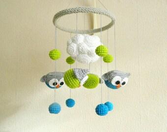 Baby Mobile Owl Baby Shower Gift Crochet Nursery Mobile Owl nursery decor Baby Crib Mobile Baby Gifts Nursery Baby Mobile Baby Mobile Felt