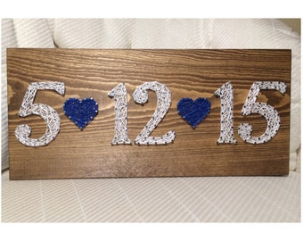 CUSTOM Date String Art Sign, Anniversary, Birthday - Guest Book - Personalized gift for her - Wedding present - Valentines Day - Christmas