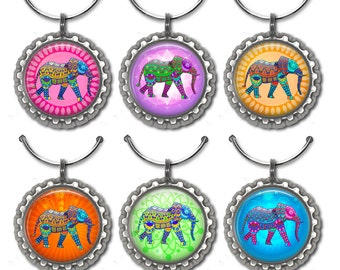 Elephant Wine Charms, Hostess Gift, Wine Charms, Wine Tags, Wine Accessories