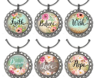 Inspirational Wine Charms, Wine Accessories, Wine Lover Gift, Hostess Gift, Housewarming Gift