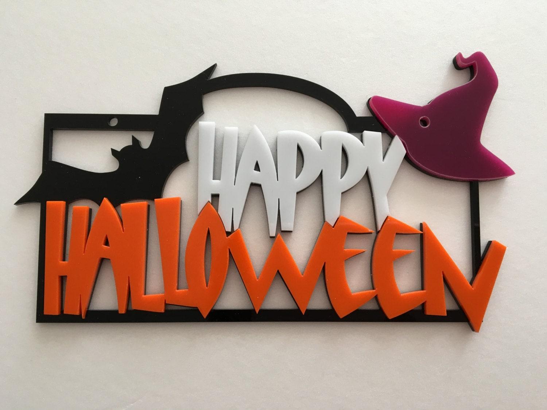 Happy Halloween Sign Spooky Door Sign, Pumpkin Sign Halloween ...