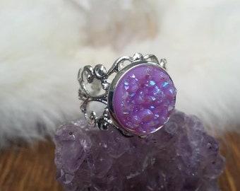 Druzy Lace Silver Ring Iridescent Purple Handmade Fashion Jewelry
