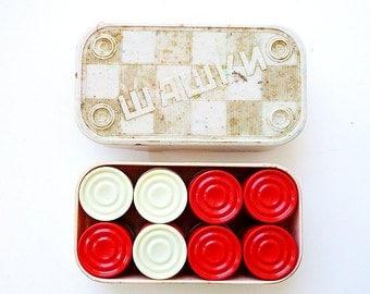 Soviet vintage karbolit red white checkers