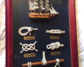 """CLIPPER SHIP Shadow Box Fisherman's Knots. 15 x 11 x 2.5"""""""