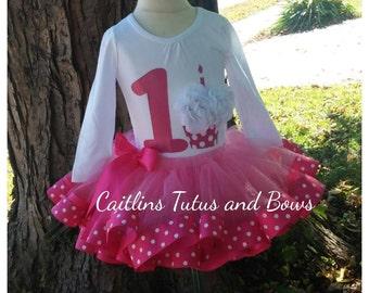 Birthday tutu outfit, Cupcake birthday tutu, Polka dot birthday outfit, 1st birthday tutu, 1st birthday outfit, pink tutu outfit, pink tutu