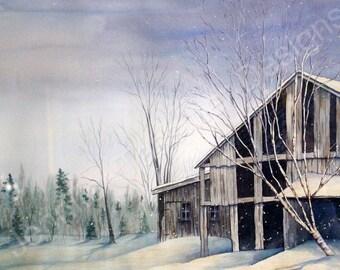 New Snow blanketing old Barn