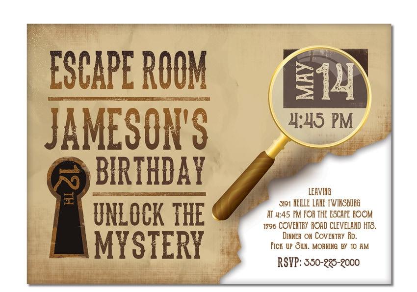 Escape Room Invite Boys or Girls Birthday Invitation Gold