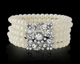 Multi-Row Stretch Pearl Bracelet, Bridal Bracelet, Ivory Pearl Bracelet Bridal Bracelet, Pearl Crystal Bracelet, Vintage Style Bracelet