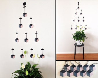 Geometric Ornaments. Black/Charcoal/Blush. Hexagonal Tags.