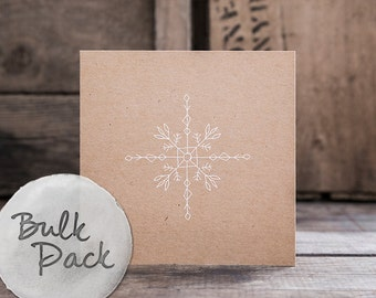 BIANCO NATALE PACK - 3 x Illustrated White Ink Christmas Cards with Envelopes (Assorted Designs)