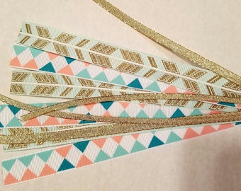Gold arrow ribbon hair ties