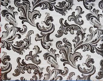 Floral Pattern Fabric in Teal Coffee Brown / Beige