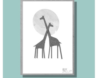 Giraffe Moon - A4 - Printable Wall Art - Instant Download and Print