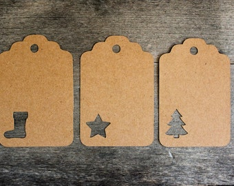Christmas Gift Tags - Holiday Tags -  Kraft Paper Labels - Hang Tags - Party Favor Tags - Set of 30 Blank Tags  - Gift Wrapping Accessories