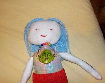 perfect looks imperfect hand made doll, positive word doll, one of a kind, deco