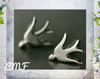 Swallow Earrings 925 Sterling Silver Stud Earrings Bird Earrings (004)