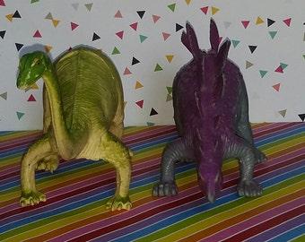 Vintage 1980s Imperial Toys Brontosaurus and Stegosaurus Plastic Dinosaur Toys