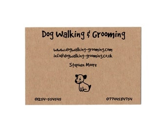 Custom Business Cards - Set of 50 - Dog Grooming Walking - Kraft Business Card - Rustic Business Card - Brown Business Card - Modern
