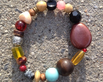 Stephanie - mixed, bold, colorful, redesigned recycled bead bracelet