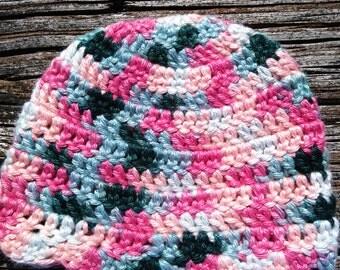 Handmade Crochet Newborn to 3 Months Baby Hat. Super Soft Cotton & Silk