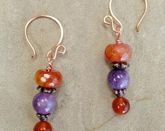 Orange and Purple Copper Dangle Earrings