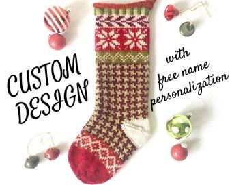 knit christmas stocking knit christmas stockings knitted custom christmas stocking pink snowflakes - Custom Christmas Stockings